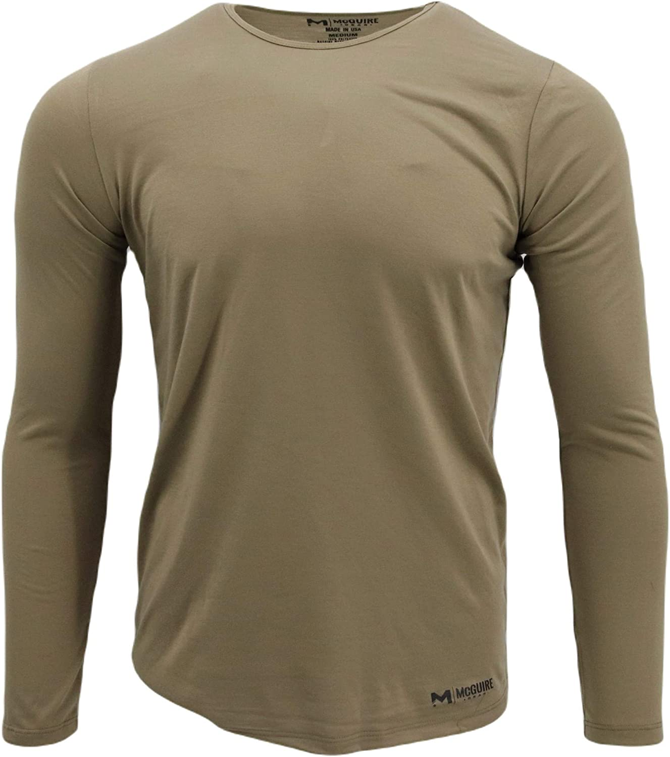 Polyester Thermal Top, Base Layer, Moisture Wicking, Made in USA, Tan 499