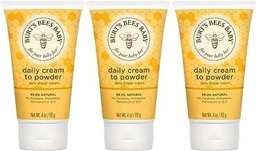 Burt's Bees Baby Daily Cream to Powder, Talc-Free Diaper Rash Cream - 4 Ounce Tube (Pack of 3)