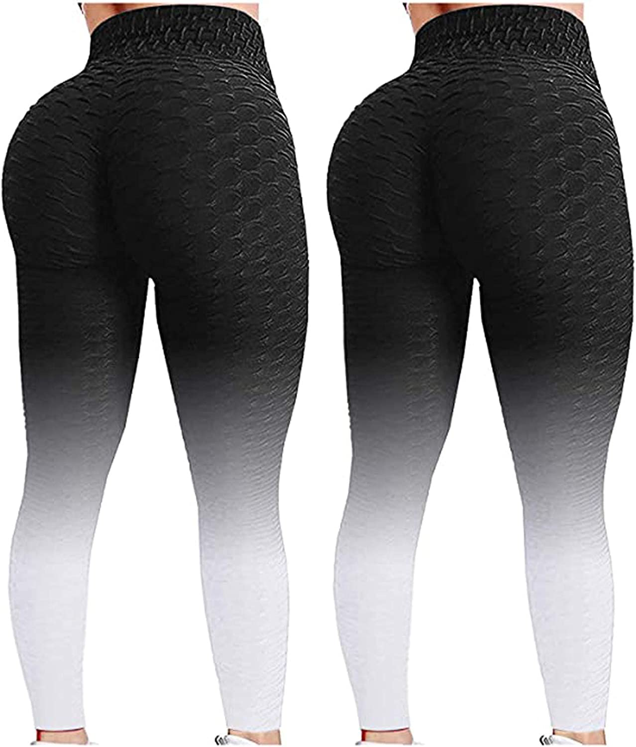 2PC Butt Lifting Anti Cellulite Leggings for Women High Waisted Yoga Pants Workout Tummy Control Sport Tights