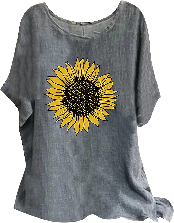 Cotton Linen Shirts Women's Summer Casual Crew Neck Short Sleeve Flower Printing Loose Shirt Tops Summer Tops Tee Shirt