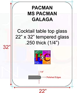 RetroArcade.us Replacement Tinted Cocktail Table Top Glass w/ 4 in Radius: Fits Bally/Midway Tables Plus After Market Arcade Cocktail Tables.