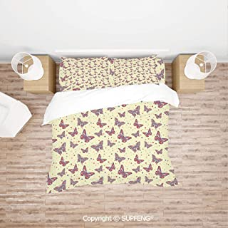 SCOXIXI Bed Cover Set Colorful Butterflies Modern Colorful Pattern Traditional Polka Dotted Background Decorative (Comforter Not Included) Soft, Breathable, Hypoallergenic, Fade Resistant