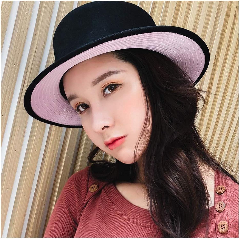 L.Z.H 100% Wool Hat Women Fedora Female Black Flat Bristles Lady Wild Flat Hat Jazz HatLiterary Hat Bowler Hat Size 5658CM