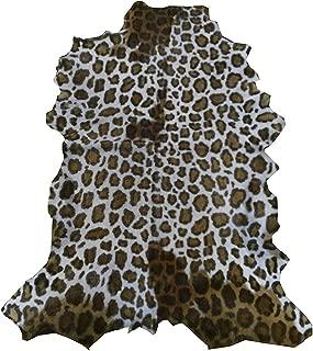 Zerimar Natural Goat Hide Rug | Leopard Imitation | Size: 3'58''x3'25'' ft | Goat Skin Rugs | Rugs for Living Room | Living Room Rug | Natural Rug | Goat Hide Rug
