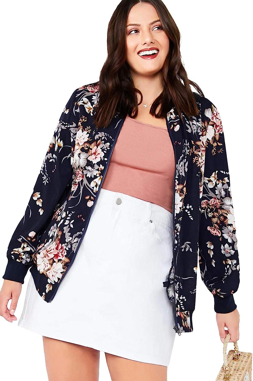 MakeMeChic Women's Plus Lightweight Floral Print Long Sleeve Zip Up Bomber Jacket Outwear