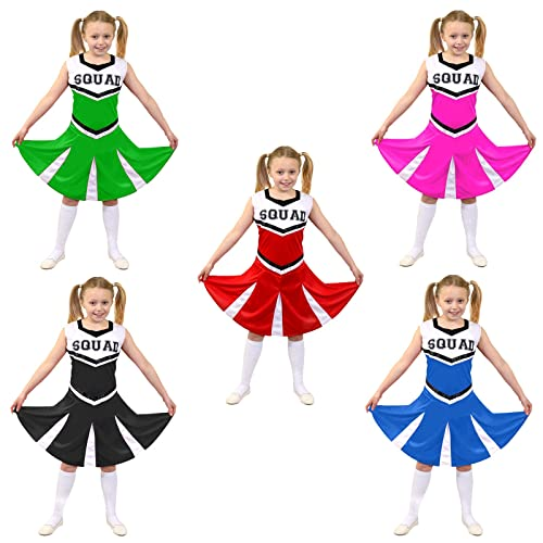 e5256ca7e826 ILOVEFANCYDRESS GIRLS CHEERLEADER FANCY DRESS COSTUME WOMENS CHEER CAPTAIN  AMERICAN CHEER LEADER UNIFORM - IN RED