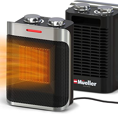 Mueller Portable Heater 750W/1500W Ceramic Space Heater, High Output Fan, Adjustable Thermostat, with overheat/tip ov...