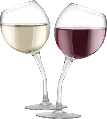 KOVOT Tilted Wine Glass Set, 13 oz, Glass