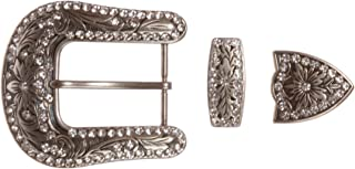 Western Rhinestone Belt Buckle Set for Replacement or Leather Craft 1-1/2