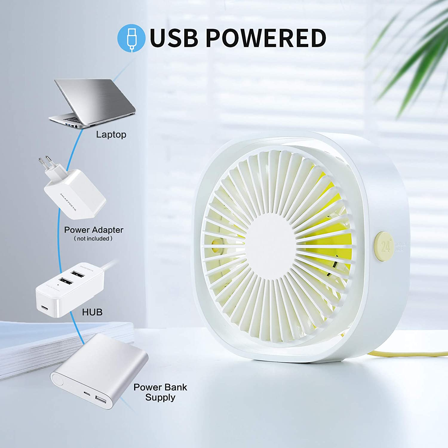 XDW Usb Fan Small Personal USB Desk Fan,3 Speeds Portable Desktop Table Cooling Fan Powered by USB,Strong Wind,Quiet Operation,for Home Office Car Outdoor Travel (White)