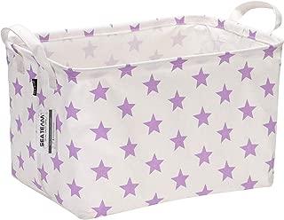 Sea Team Collapsible Rectangular Canvas Fabric Storage Bin Shelf Basket Organizer for Nursery & Kid's Room, 16.5 x 11 x 9.8 inches, Purple Star
