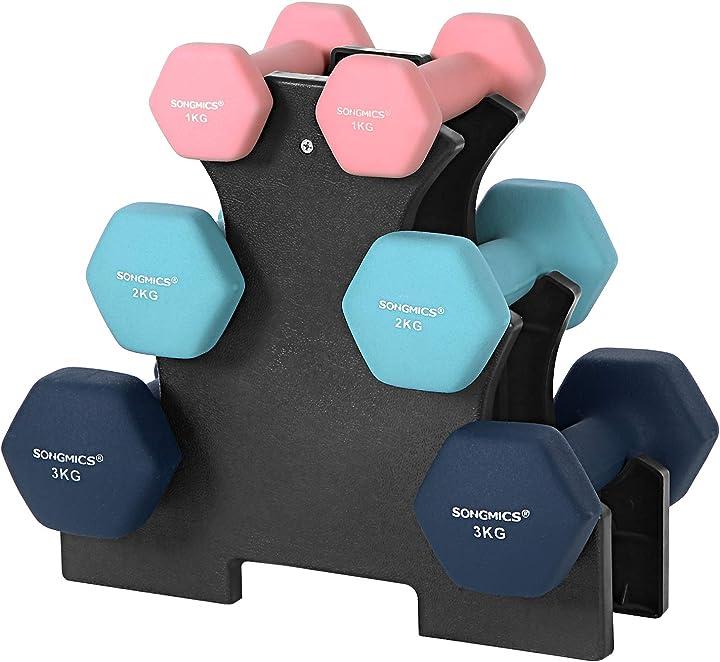 Set di manubri con supporto, 2 x 1 kg, 2 x 2 kg, 2 x 3 kg, finitura opaca in neoprene songmics B083HVJBVR