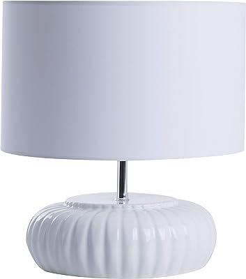 Lampe à poser Alicia, lampe décorative céramique, blanc, 60W, ø35 x H38 cm