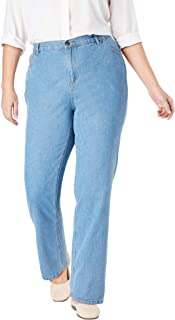 Women's Plus Size Tall Back-Elastic Straight Leg Cotton Jean