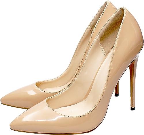 DYF Chaussures femmes talon haut extra fines de couleur solide taille grande bouche peu profondes,Fun,39