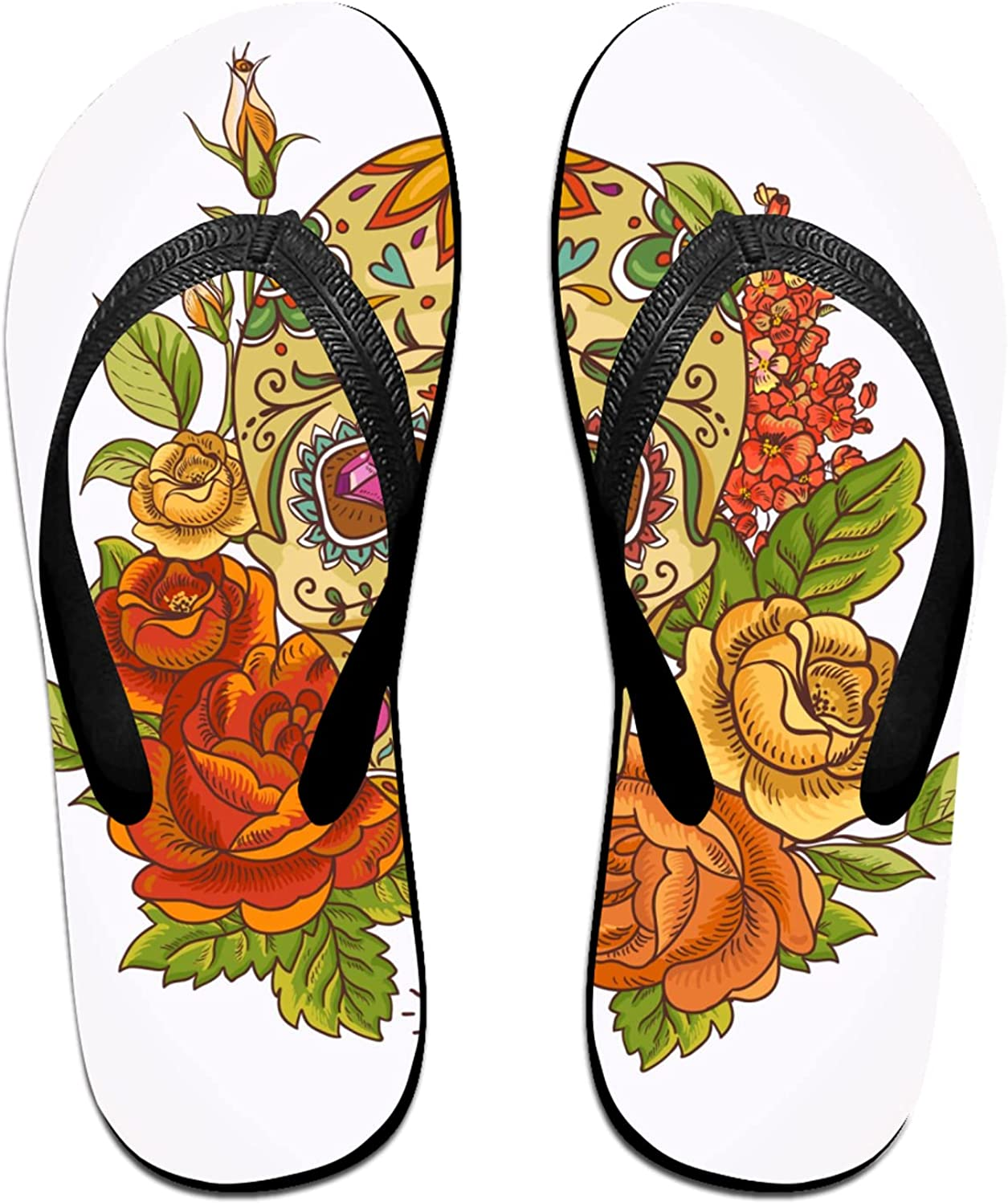 Women's New popularity Men's Flip Flop Slippers Skull And Clas Adults Flowers Time sale