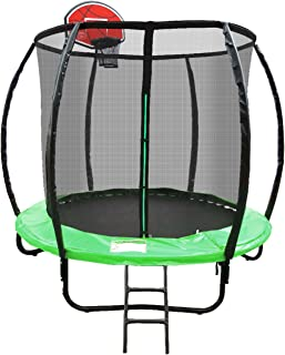 Jumbroo 6ft Enclosed Net Fiberglass Round Trampoline Basketball Hoop Bundled