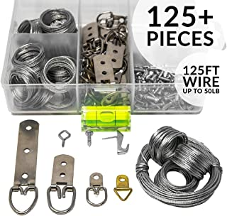 Picture Wire Hanging Kit 125+ Pieces - D-Ring, Screws, Hanging Hooks,Level. Supports up to 50 lbs (125 Feet) Wire   Comes with Solid Box