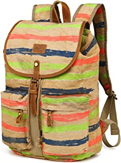 Kemy's Striped Canvas Backpack for Women Drawsting Daypack for Travel