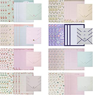 72 Pcs Stationery Paper Lovely Writing Paper Stationery Set,48 Stationery Paper with 24 Envelopes,8 Different Style Cute S...