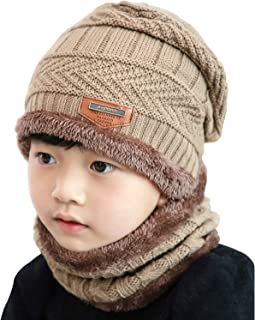 AMAZACER Kids Winter Fleece Lined Beanie Hat Neck Warmer Scarf Set for Boys Girls (Color : Khaki)