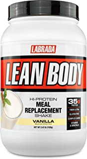 Labrada Nutrition Lean Body Hi-Protein Meal Replacement Shake, Vanilla, 2.47-Pound Tub
