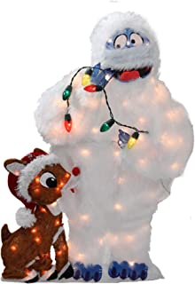 """CC Home Furnishings 32"""" Pre-Lit Rudolph and Bumble 2-D Christmas Outdoor Decoration"""