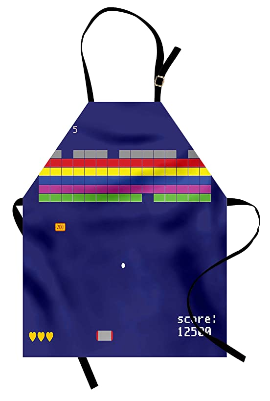 Lunarable Vintage Apron, Playful Arcade Design with Colorful Square Shapes Super Mario Funny Modern Graphic, Unisex Kitchen Bib Apron with Adjustable Neck for Cooking Baking Gardening, Indigo