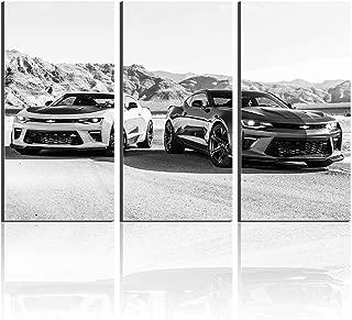 Chevrolet 2016 Camaro Two Metallic Cars Giclee Printing Canvas Wall Art Poster Paintings Artwork Home Decor New Gift (No Frame- Frameless,50x70cmx3)