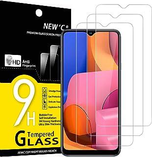 NEW'C 3-pack skärmskydd med Samsung Galaxy A20S – Härdat glas HD klar 9H hårdhet bubbelfritt