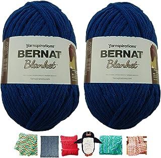 Big Ball Blanket Yarn 2-Pack Bundle by Bernat Plus 6 Blanket Yarn Patterns Super Bulky #6 10.5 Ounce Ball 220 Yards (Twilight Blue)