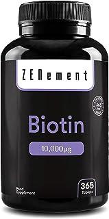 Biotina 10.000 µg. 365 Comprimidos | Para mejorar la salud