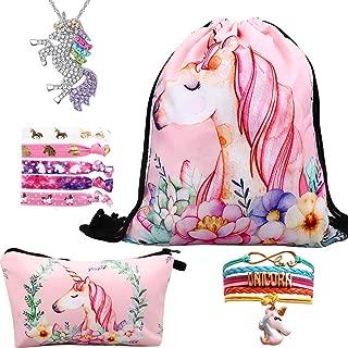 Lingpeng Unicorn Gifts For Girls 5 Pack, Unicorn Drawstring Backpack/Makeup Bag/Unicorn Pendant Necklace/Bracelet/Hair Ties