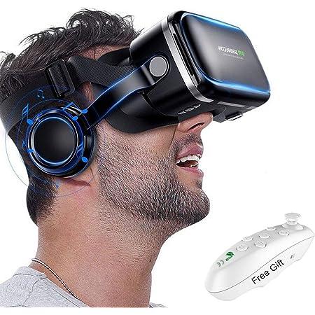 iPhone Ver Pel/ículas en 3D y Videojuegos,002 Android ZRSH Gafas VR Movil Auricular de Realidad Virtual con 3D y Mando a Distancia Bluetooth para Tel/éfono M/óvil Universal