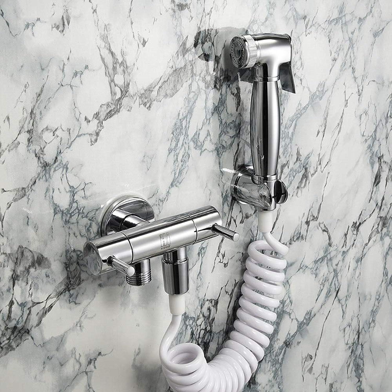 ZHHID Bidet Handbrause - Messing Toilette Bad Bidet Set für Persnliche Hygiene, Stoffwindel-Reinigung und WC-Waschen - Edelstahl Schlauch,Round