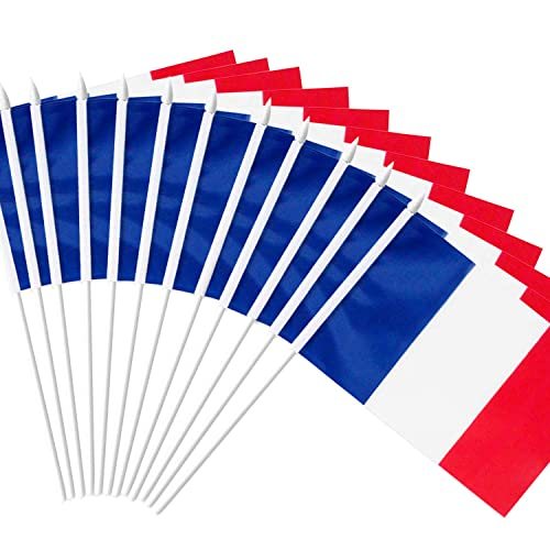 "Anley France Stick Flag, French 5x8 inch (12 X 20cm) HandHeld Mini Flag With 12"" (30cm) White Solid Pole - Vivid Color and Fade Resistant - 5 x 8 inch Hand Held Stick Flags With Spear Top (1 Dozen)"