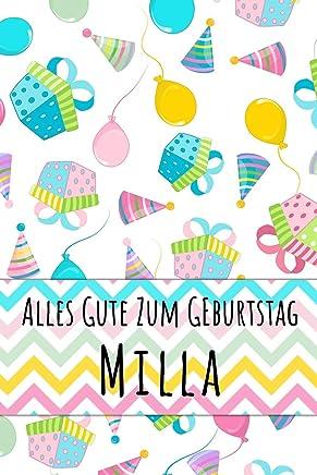 Alles Gute zum Geburtstag Milla: Liniertes Notizbuch für deinen personalisierten Vornamen
