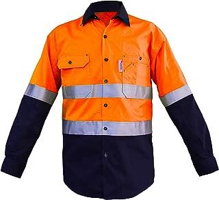 LANTERN FISH Mens Hi Vis Shirts Protective Safety Work with 3M ScotchliteTM Reflective Tape 100% Cotton Long Sleeve