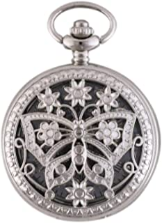 Silver Pocket Watch, Retro Cutout, Beautiful Butterfly Pattern, High Precision Mechanical Movement/Gear, with Bracelet, Gift
