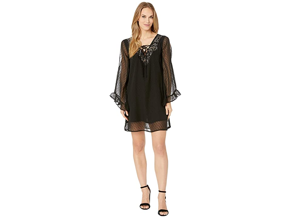 Rock and Roll Cowgirl Cold Shoulder Dress D4-8583 (Black) Women