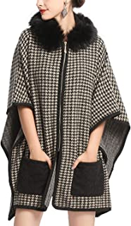 Women's Houndstooth Wool Coat Warm Hooded Cloak Poncho Sweater Cape