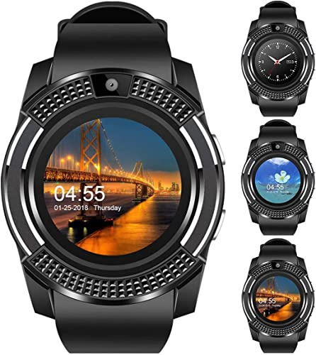 V8 Bluetooth Smartwatch Android Smart Watch 4G Phone Watch with Camera SIM Card Slot Sports Tracker Smart Watch for Men Compatible with All Android and iOS Smartphones