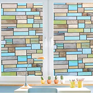 Privacy Window Covering, Stained Glass Effect Window Film No Adhesive Static Cling for Glass Window Decor, Bathroom, Kids Room, Sliding Door - Waterproof, Easy Removal (Bricks, 17.7x78.7 Inches)