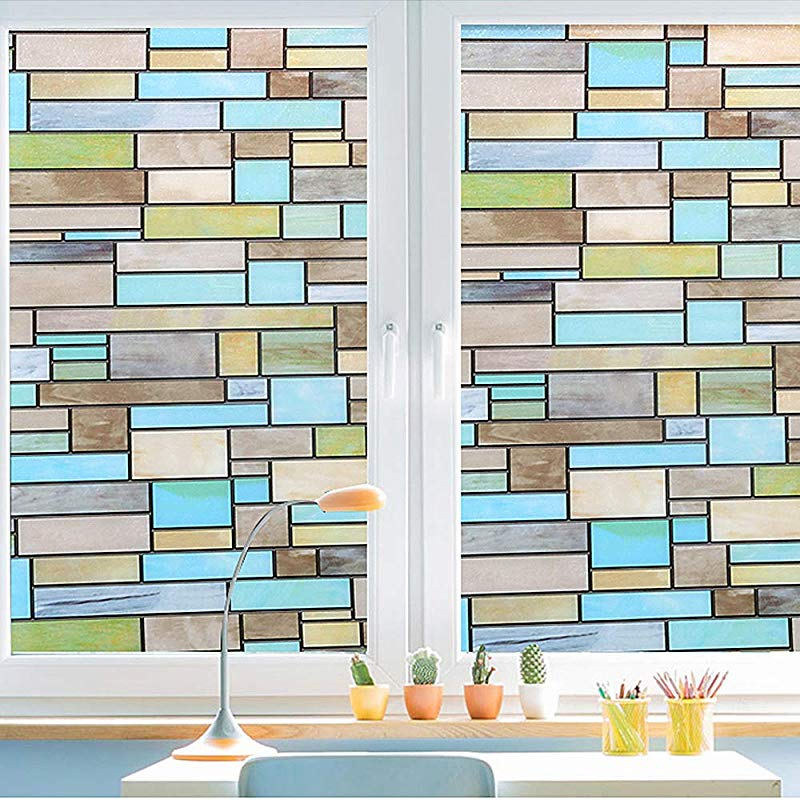 Privacy Window Covering Stained Glass Effect Window Film No Adhesive Static Cling For Glass Window Decor Bathroom Kids Room Sliding Door Waterproof Easy Removal Bricks 35 4x78 7 Inches