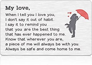Fathers Day Gift for Husband Anniversary Wallet Card Insert Valentine for Her Him to Be Dad Birthday Gifts from Wife Boyfr...