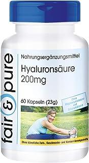 Fair & pure 6089060 - 60 Cápsulas de 200 mg de Ácido hialurónico (vegano, libre de estearato de magnesio, dióxido de silicio, aditivos y conservantes)