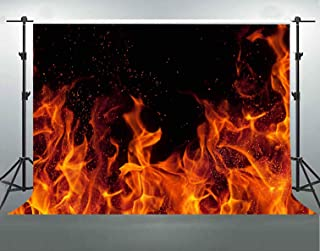 F-FUN SOUL Burning Fire Backdrop Cotton Cloth Flame Dark Black Photography Backgrounds Themed Party Portrait Photo Studio Props Banner Decoration FS029