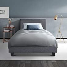 King Single Bed Frame, Artiss NEO Fabric Wooden Bed Frame Base, Grey