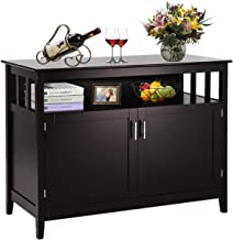 Costzon Kitchen Storage Sideboard Dining Buffet Server Cabinet Cupboard, Free Standing Storage Chest with 2 Level Cabinets and Open Shelf, Adjustable Middle Shelf for Home, Dining Room (Espresso)