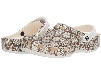 Crocs Classic Snake Print Clog (Oyster/Mushroom) Shoes